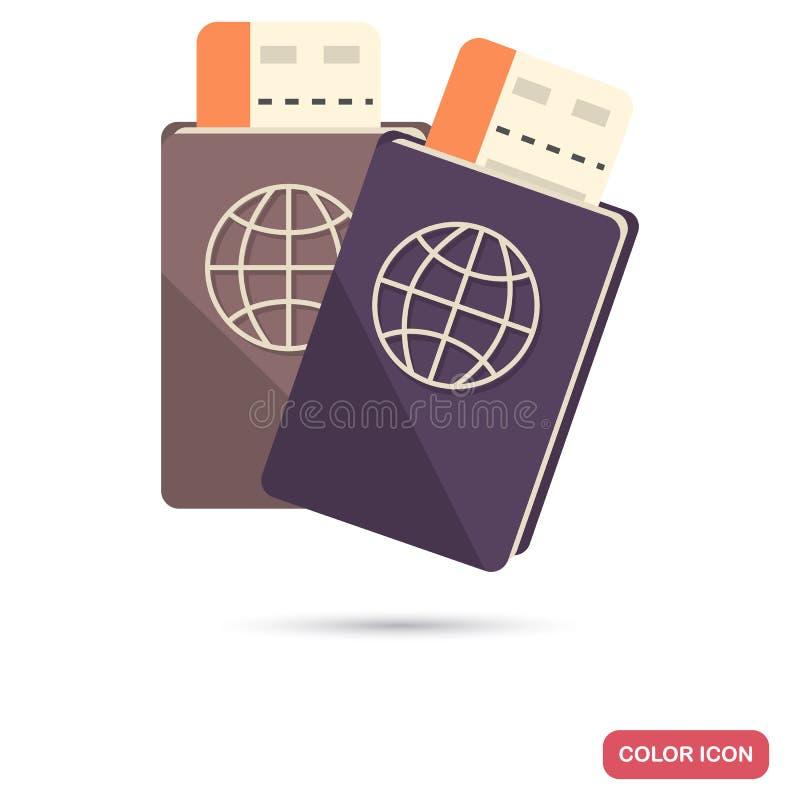 Пасспорт с значком цвета посадочных талонов плоским иллюстрация вектора