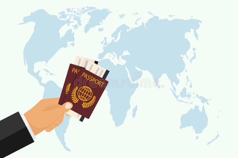 Пасспорт с посадочным талоном в руке Рука держит пасспорт на фоне карты мира Концепция перемещения бесплатная иллюстрация