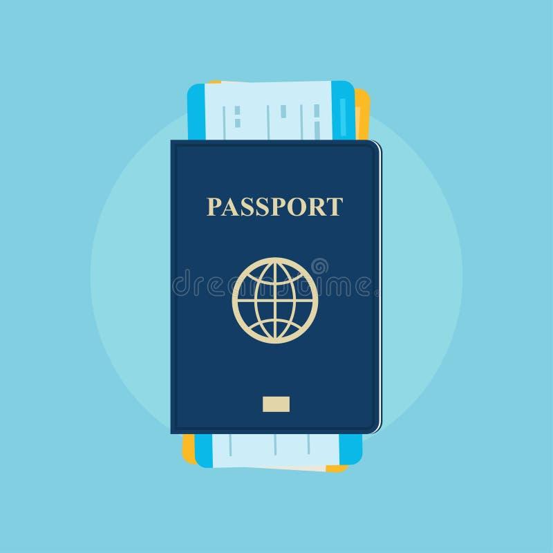 Пасспорт с посадочными талонами иллюстрация штока