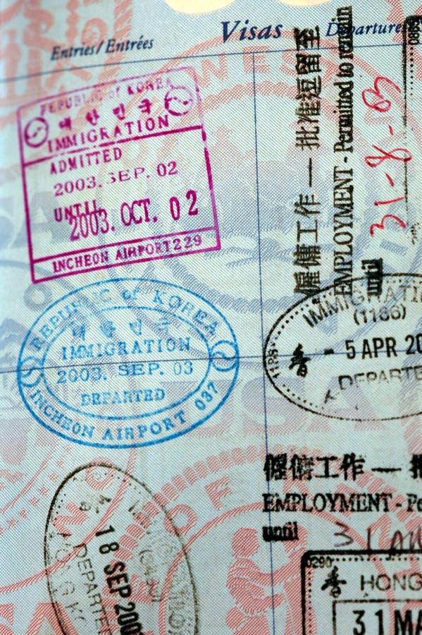 пасспорт штемпелюет визу стоковые фотографии rf