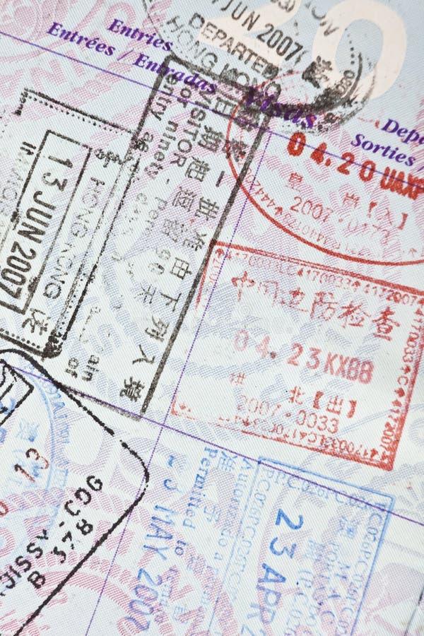 пасспорт штемпелюет нас виза стоковое изображение