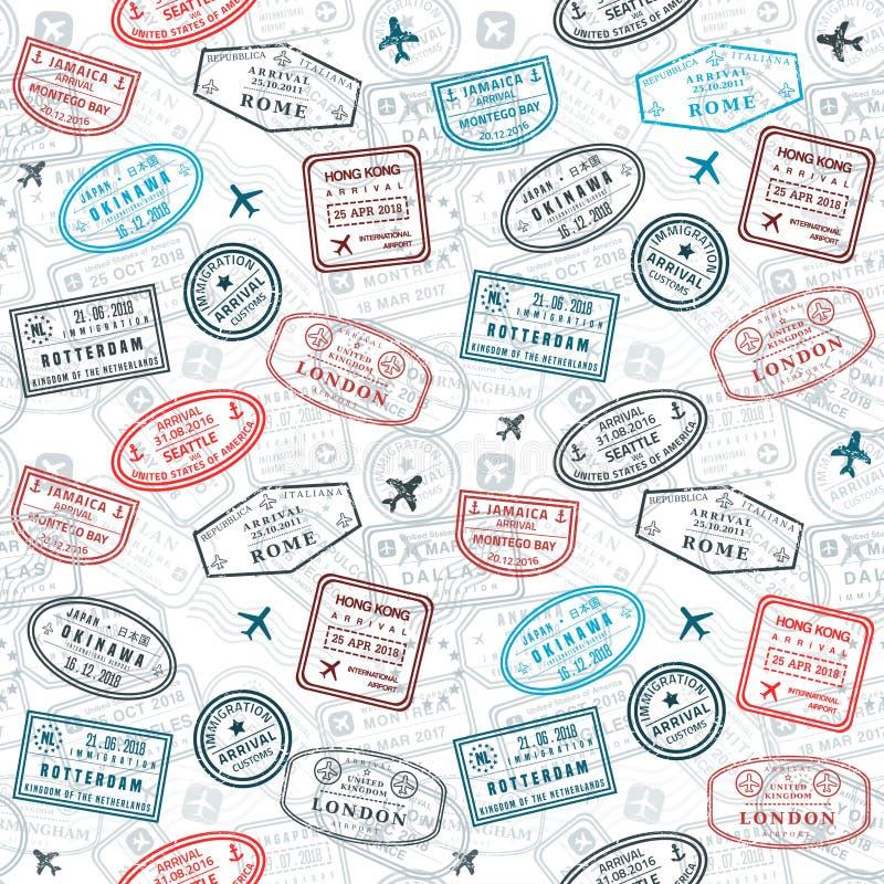 Пасспорт штемпелюет текстуру бесплатная иллюстрация