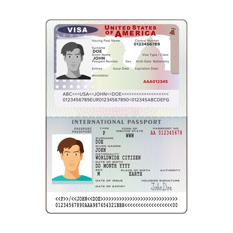 Пасспорт international вектора открытый с визой США иллюстрация вектора