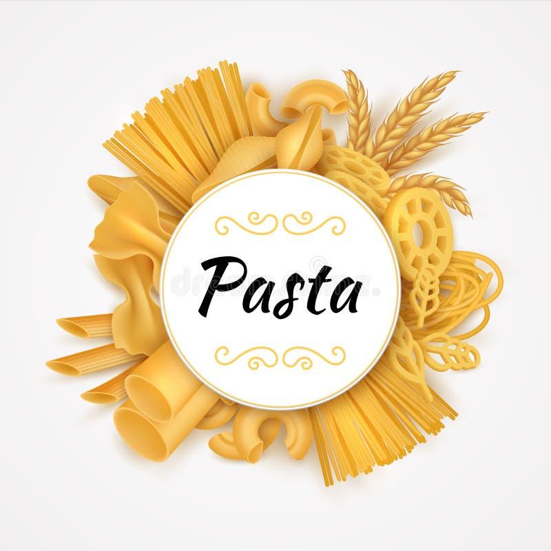 Паста Реалистичная итальянская кухня сухие макароны, сырая пшеничная еда и мука Вектор 3D органический иллюстрация вектора