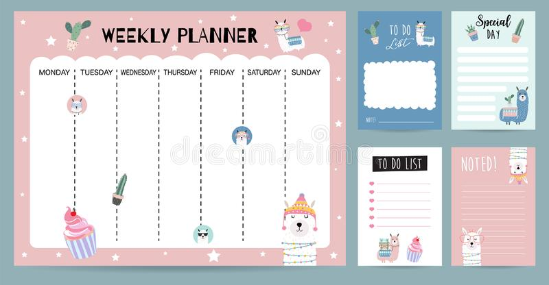 Пастельный плановик еженедельного календаря с ламой, альпакой, кактусом, стеклами иллюстрация вектора