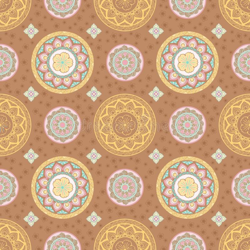 Пастельный цветок мандалы и картина тайского стиля безшовная бесплатная иллюстрация