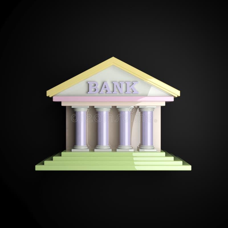 пастельный лоснистый значок банка 3d иллюстрация штока
