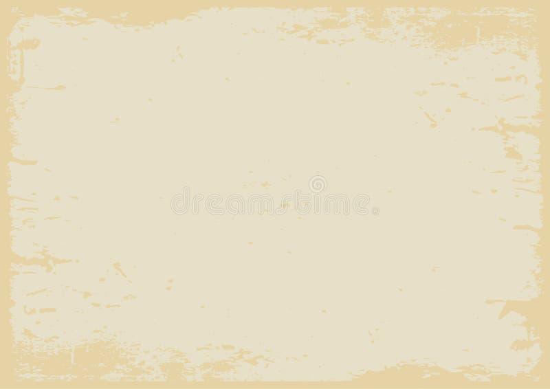 Пастельным желтым предпосылка текстурированная grunge с границей иллюстрация вектора