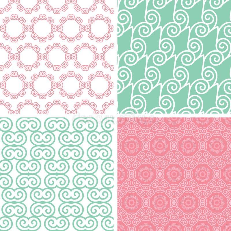 4 пастельных абстрактных повода свирли безшовного иллюстрация штока