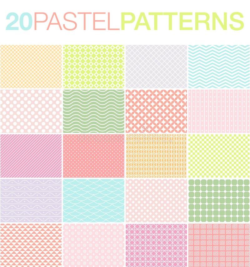 20 пастельных картин иллюстрация вектора