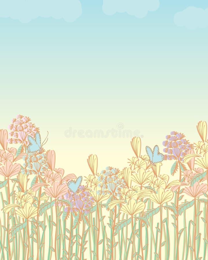Пастель поля цветков бесплатная иллюстрация