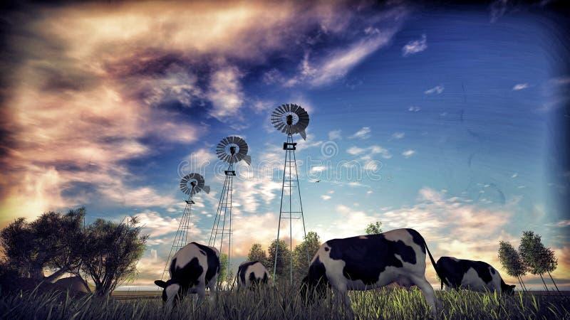 Пасти коров иллюстрация штока
