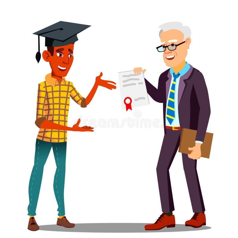 Пастор представляя диплом к счастливому студенту в постдипломном векторе крышки изолированная иллюстрация руки кнопки нажимающ же иллюстрация вектора