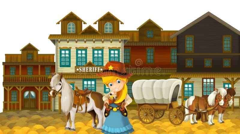 Пастушка или ковбой - Дикий Запад - иллюстрация для детей иллюстрация штока