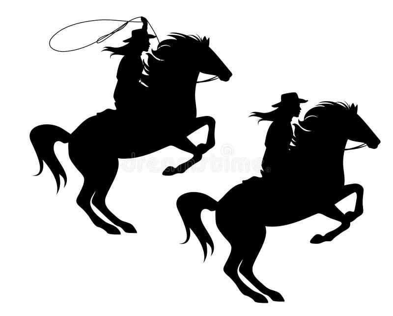 Пастушка и поднимать вверх по силуэту вектора черноты лошади иллюстрация вектора