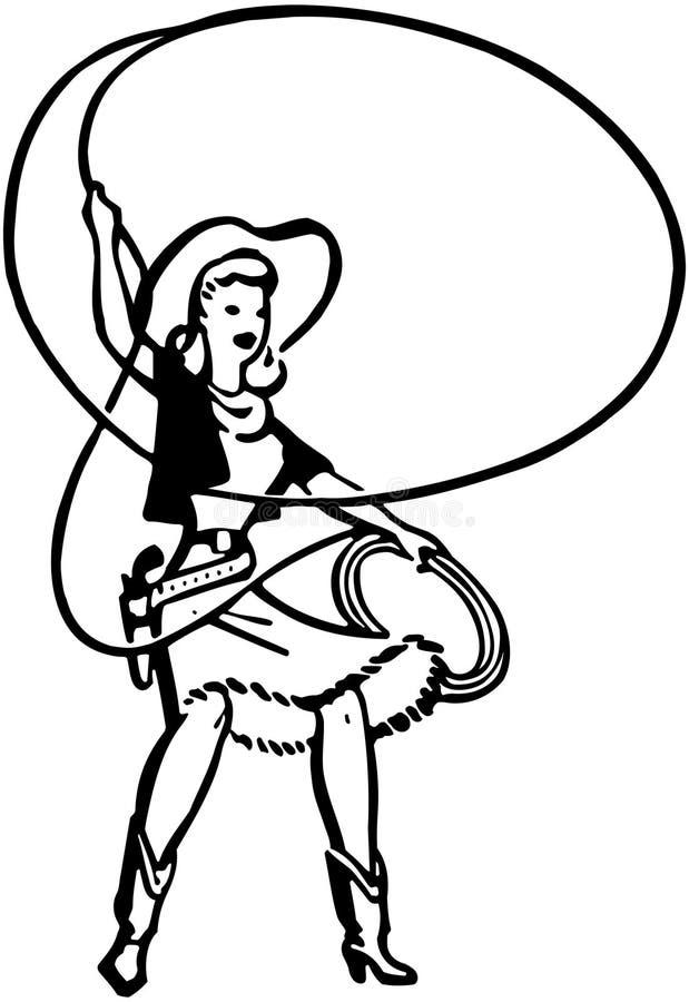 Пастушка с лассо иллюстрация вектора
