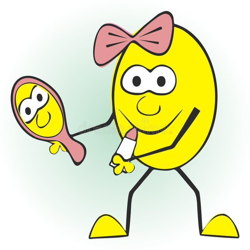 Пасхальное яйцо, губная помада и зеркало, значок вектора, смешная открытка бесплатная иллюстрация