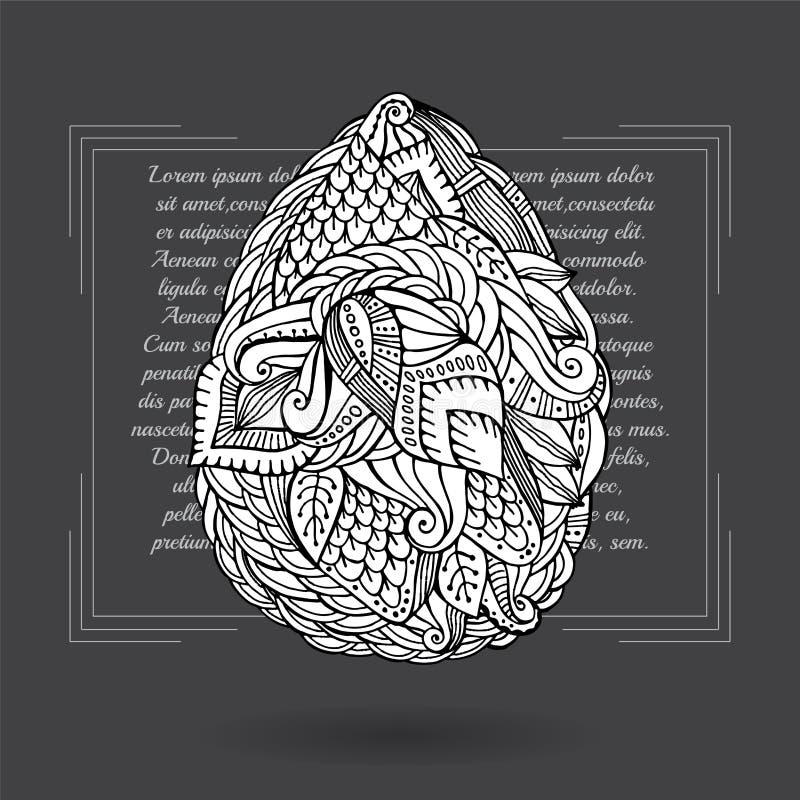 Пасхальное яйцо запаса Стиль doodle шаржа иллюстрация штока