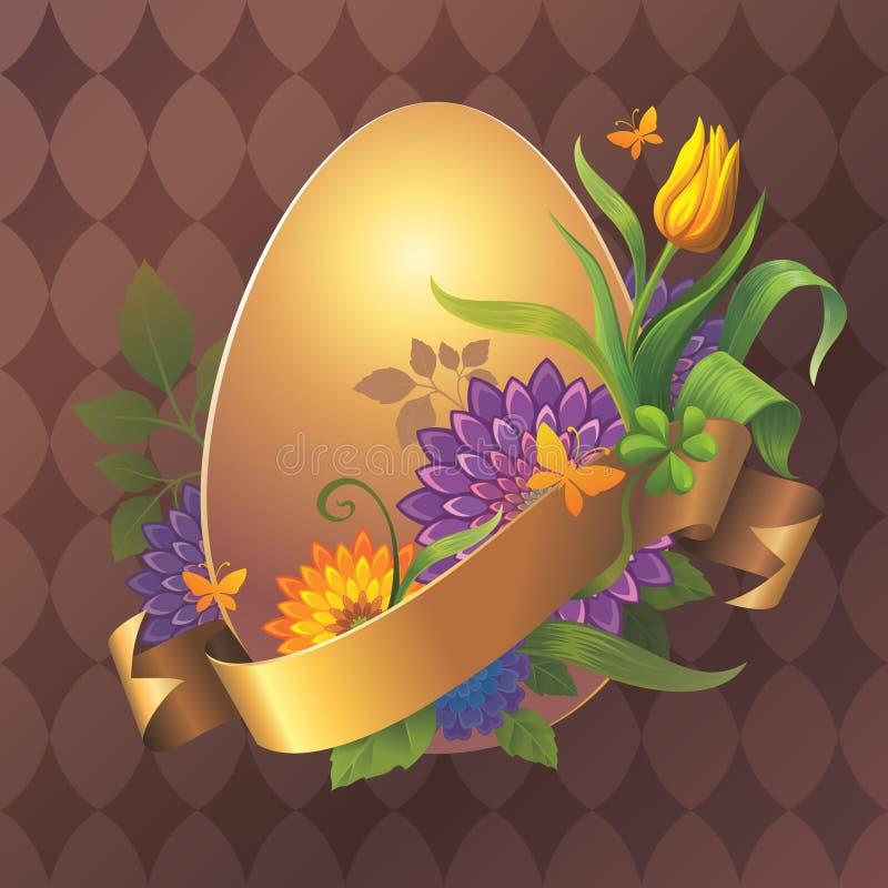 Пасхальное яйцо золота с цветками и тесемкой золота маркирует иллюстрация штока
