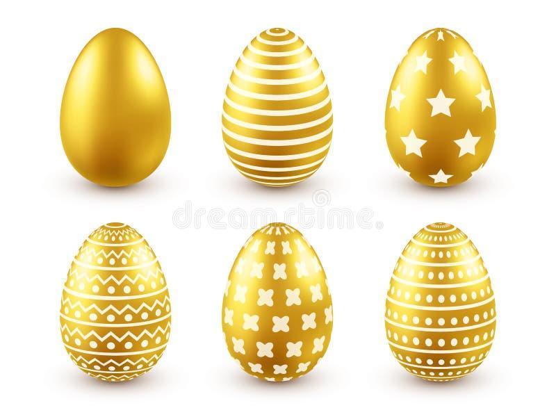 пасхальное яйцо золотистое Традиционные праздники весны в апреле или марте воскресенье Яйца и золото Большой комплект бесплатная иллюстрация