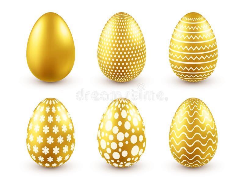 пасхальное яйцо золотистое Традиционные праздники весны в апреле или марте воскресенье Яйца и золото Большой комплект иллюстрация штока