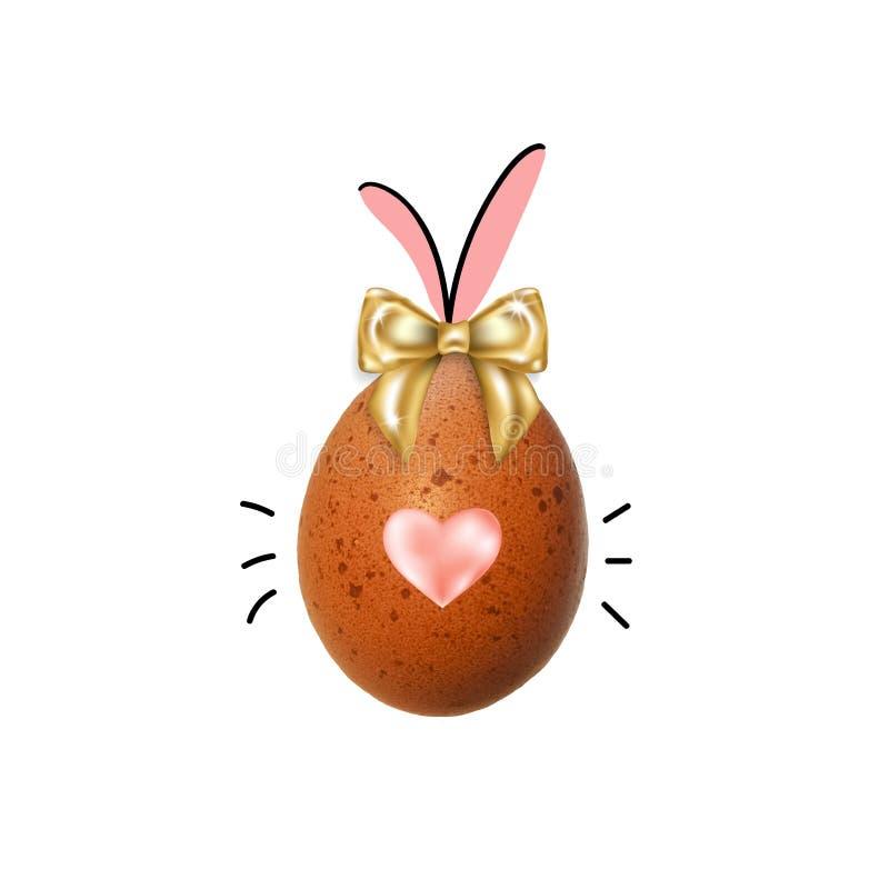 Пасхальное яйцо с ушами зайчика, смычок, сердце стоковая фотография
