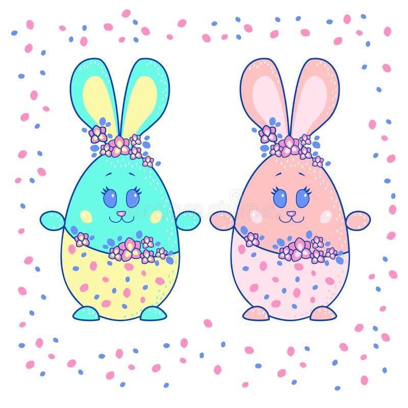 Пасхальные яйца в форме зайцев Мальчик и девушка бесплатная иллюстрация