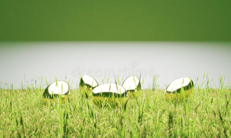 Пасхальные яйца золота в иллюстрации лужайки 3D бесплатная иллюстрация