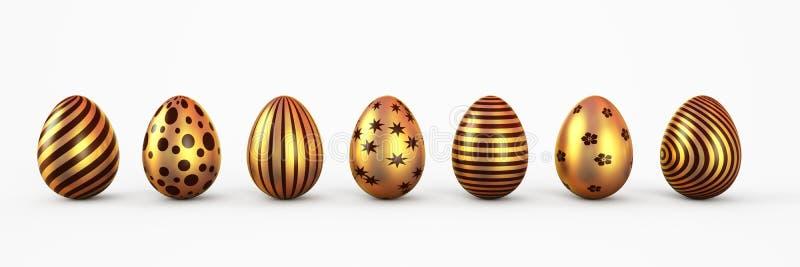 Пасхальные яйца золота с изолированным набором patten 3d закрепляя легкую редактируя иллюстрацию архива включило перевод путя иллюстрация штока
