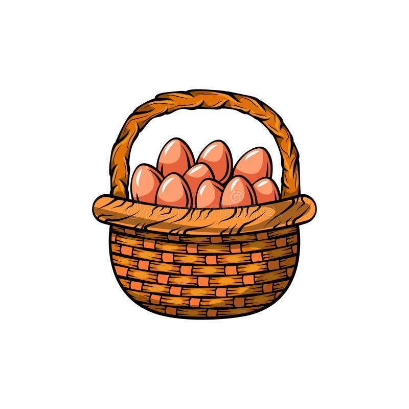 пасхальные яйца корзины также вектор иллюстрации притяжки corel иллюстрация штока