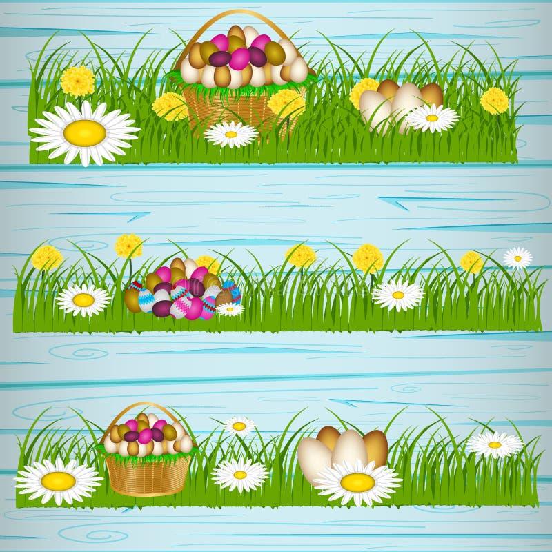 Пасхальные яйца на зеленой траве иллюстрация вектора