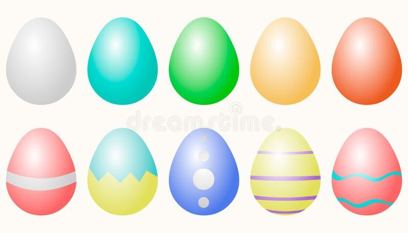 Пасхальные яйца покрасили изолированный над белизной бесплатная иллюстрация