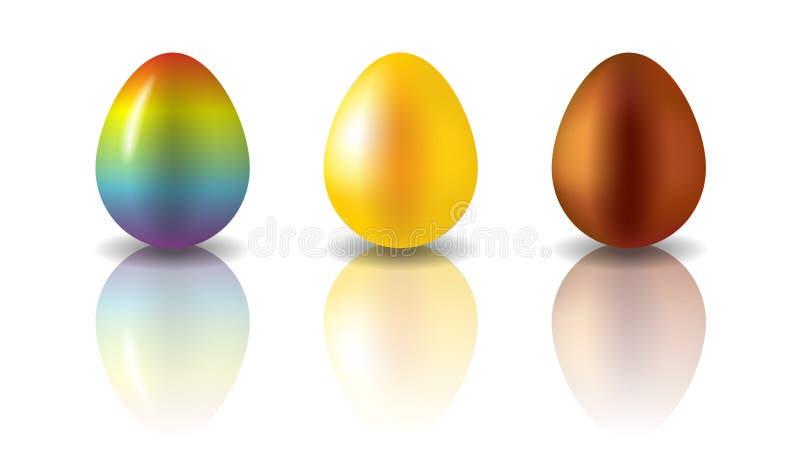 Пасхальные яйца радуги, золотых и шоколада бесплатная иллюстрация
