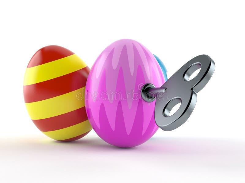 Пасхальные яйца с ключом clockwork иллюстрация штока