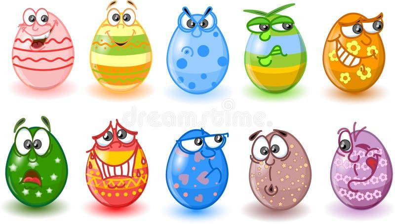 пасхальные яйца шаржа счастливые иллюстрация штока