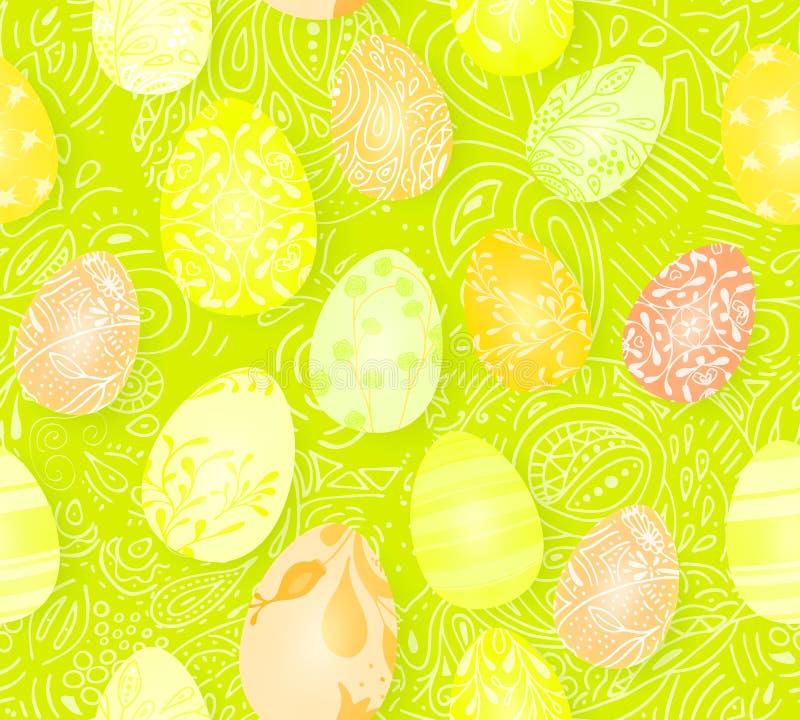 пасха счастливая Безшовная картина пасхальных яя с различной текстурой 3d представляют реалистическую иллюстрацию вектора Весна иллюстрация штока
