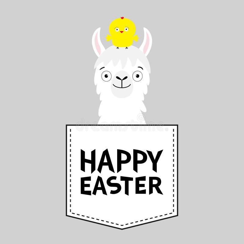 пасха счастливая Голова стороны альпаки ламы в кармане Курица шарж животных милый Характер Kawaii Штриховой пунктир черная белизн бесплатная иллюстрация