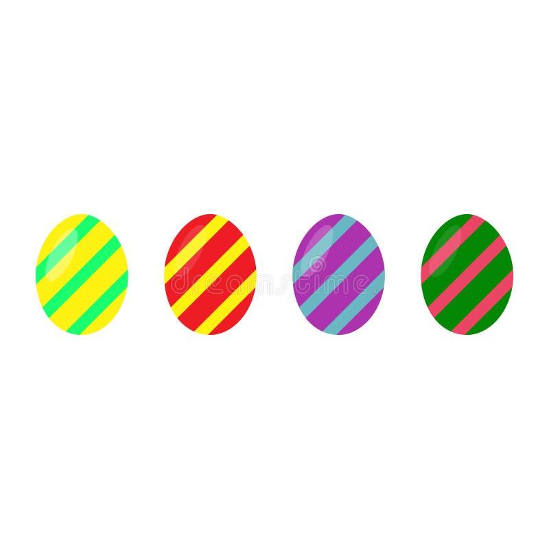 пасха счастливая Установите яя пасхи красочных на белой предпосылке Праздник весны также вектор иллюстрации притяжки corel Счастл иллюстрация штока