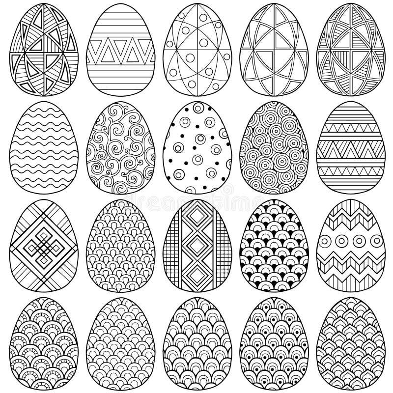 пасха счастливая Комплект черно-белых пасхальных яя Doodle Книжка-раскраска для взрослых для релаксации и раздумья E изолированны бесплатная иллюстрация