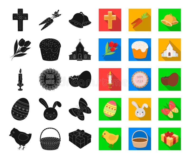 Пасха христианская чернота праздника, плоские значки в установленном собрании для дизайна Пасха приписывает сеть запаса символа в иллюстрация вектора