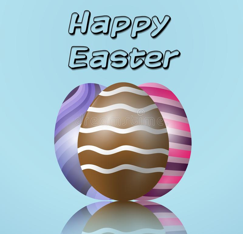 3 пасхального яйца на голубой предпосылке иллюстрация штока