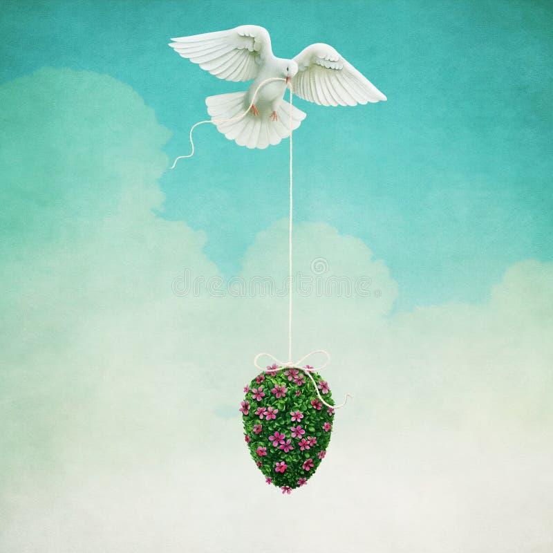 Пасхальное яйцо и голубь бесплатная иллюстрация