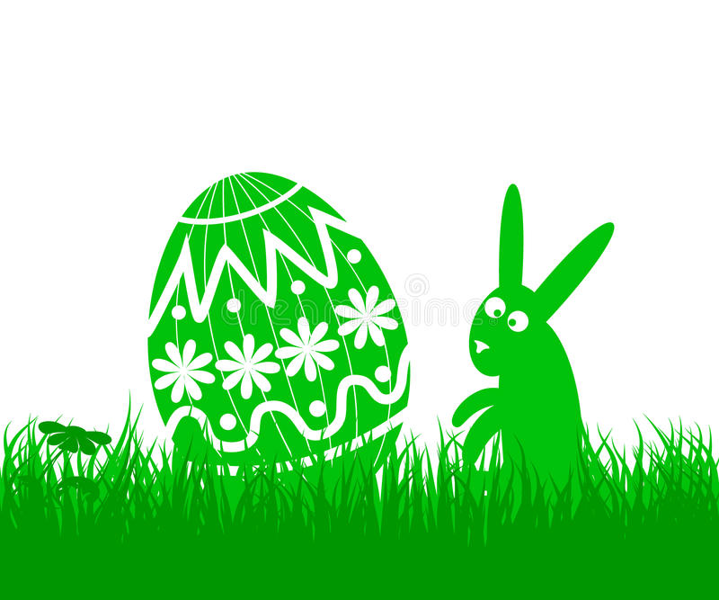 Пасхальное яйцо и кролик иллюстрация вектора