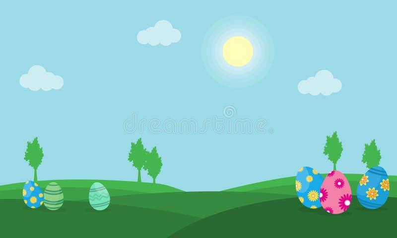 Пасхальное яйцо на векторе ландшафта холма иллюстрация вектора
