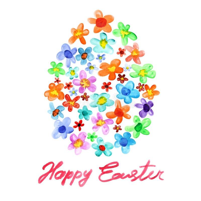 Пасхальное яйцо цветков акварели иллюстрация штока