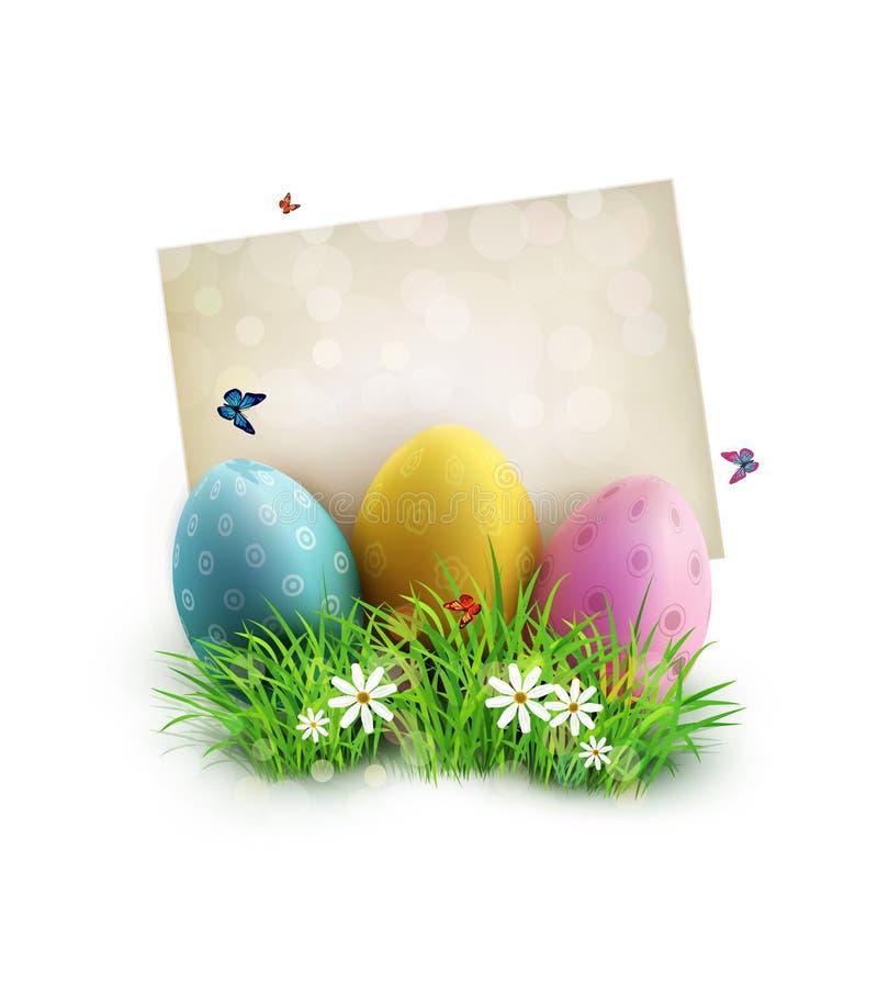 Пасхальные яйца в зеленой траве с белыми цветками, бабочками, винтажной карточкой иллюстрация вектора