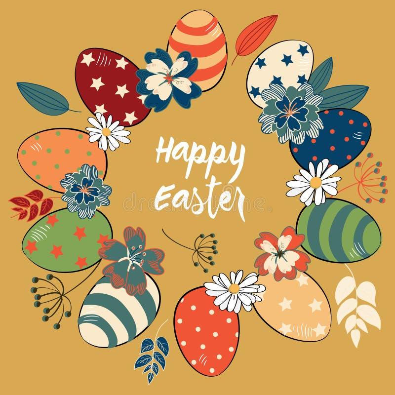 Пасхальные яйца в круге покрашенном в винтажном стиле с красочными цветками и листьями Иллюстрация вектора на предпосылке золота иллюстрация штока