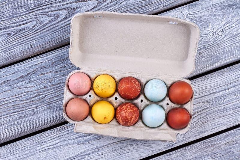 Пасхальные яйца в подносе стоковые фотографии rf