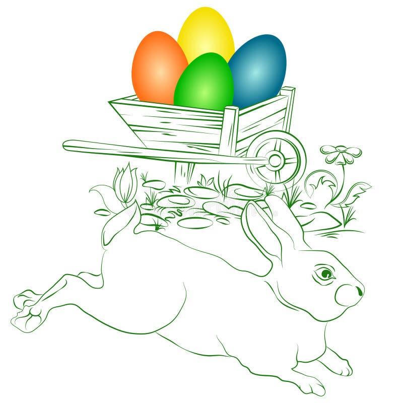 Пасхальные яйца и зайчик иллюстрация вектора