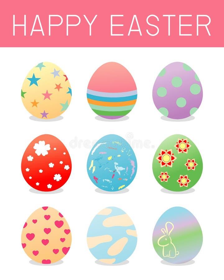Пасхальные яйца комплект пасхальных яя цвета изолированных на белой предпосылке Стиль значков вектора пасхальных яя плоский Пасха иллюстрация штока